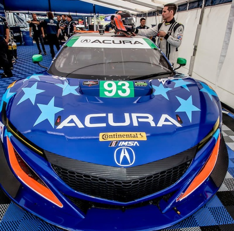 This is a photo of driver Andy Lally with the new 2017 Acura NSX prior to earning a podium spot in Canada in the IMSA Weathertech Championship.