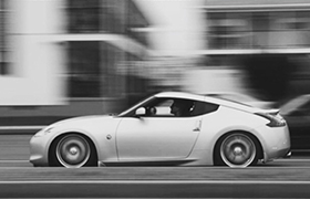 This is a shot of a 2010 Nissan 370Z owned by James Gorcheck highlighting the speed of the vehicle.