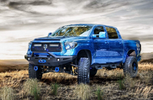 This is a modified pic of a blue, customized 2016 Toyota Tundra owned by Justin Darbrow.