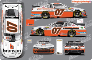 A 360 degree view of the Branson Supply NASCAR that Andy Lally races in the NASCAR Xfinity Series at Mid-Ohio. The MotorCrush logo can be seen on the quarter panels of the car.