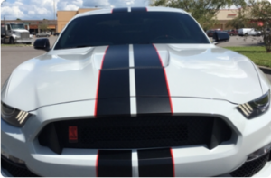 This is a picture of a white with black stripes 2017 Ford GT350R explained in the car bio that follows.