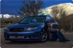 This is a starlet picture of a 2007 Subaru Legacy with it's owner Logan Gordon