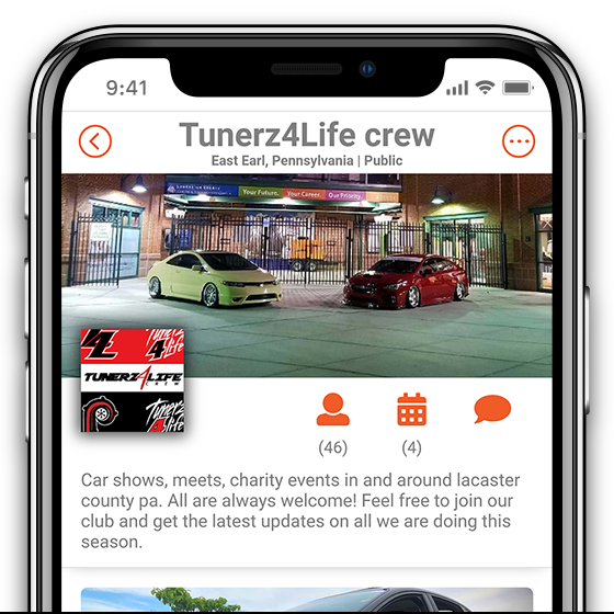 tuners 4 life crew club page in motorcrush app